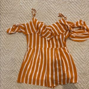 Striped orange romper